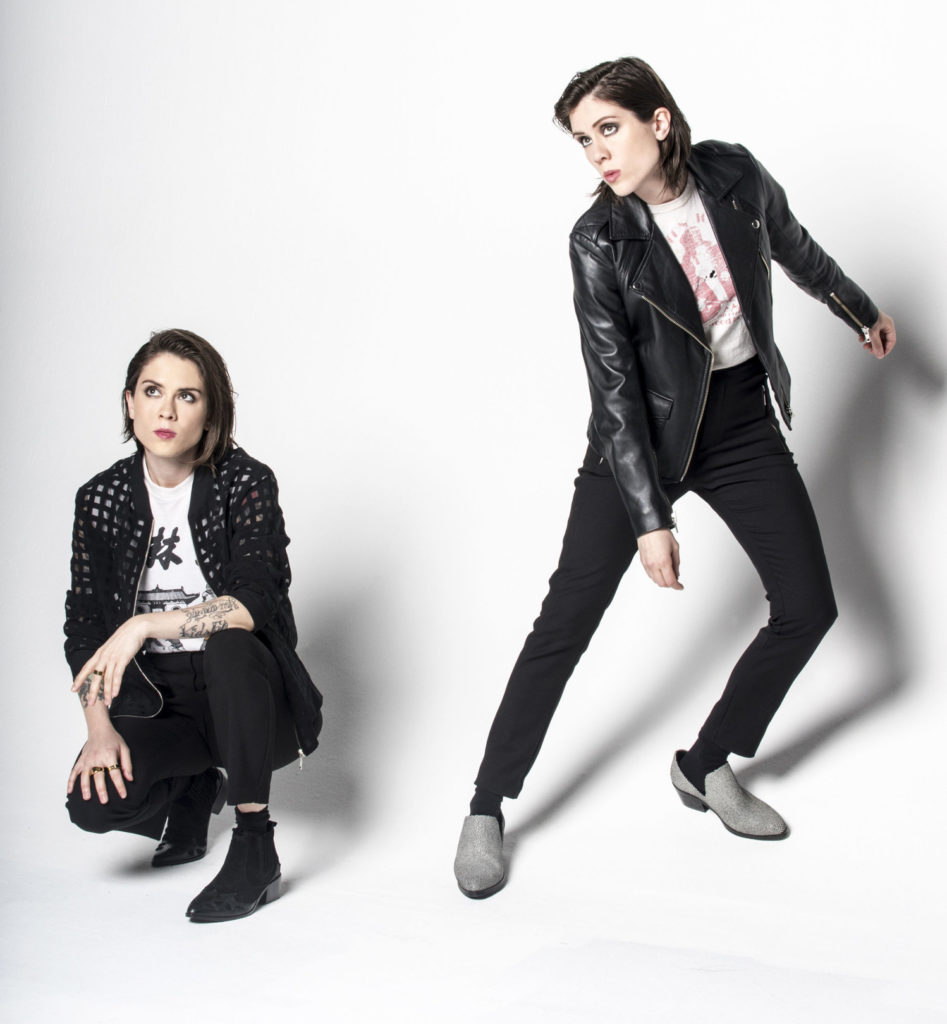 Tegan & Sara really love black leather jackets. And podcasts. Lots of them.