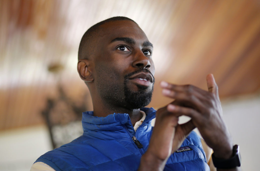 DeRay Mckesson never goes anywhere without his trusty blue Patagonia vest.