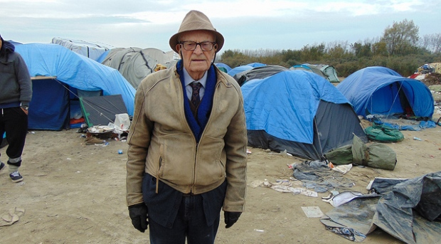 Harry Leslie Smith at a refugee and migrant encampment called Calais Jungle, in use from January 2015 to October 2016 in Calais, France.